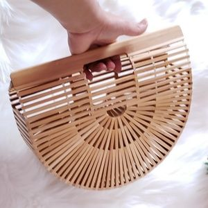 New/Bamboo woven straw clutch, boho hand woven